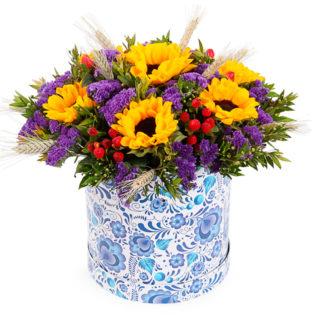 Цветы в коробке «Лучик»