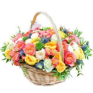 Цветы в корзинке «Музыка цветов»