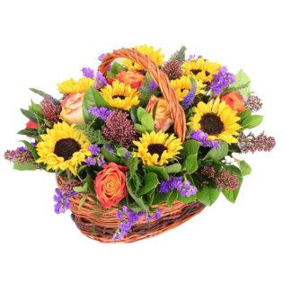 Цветы в корзинке «Прикосновение солнца»